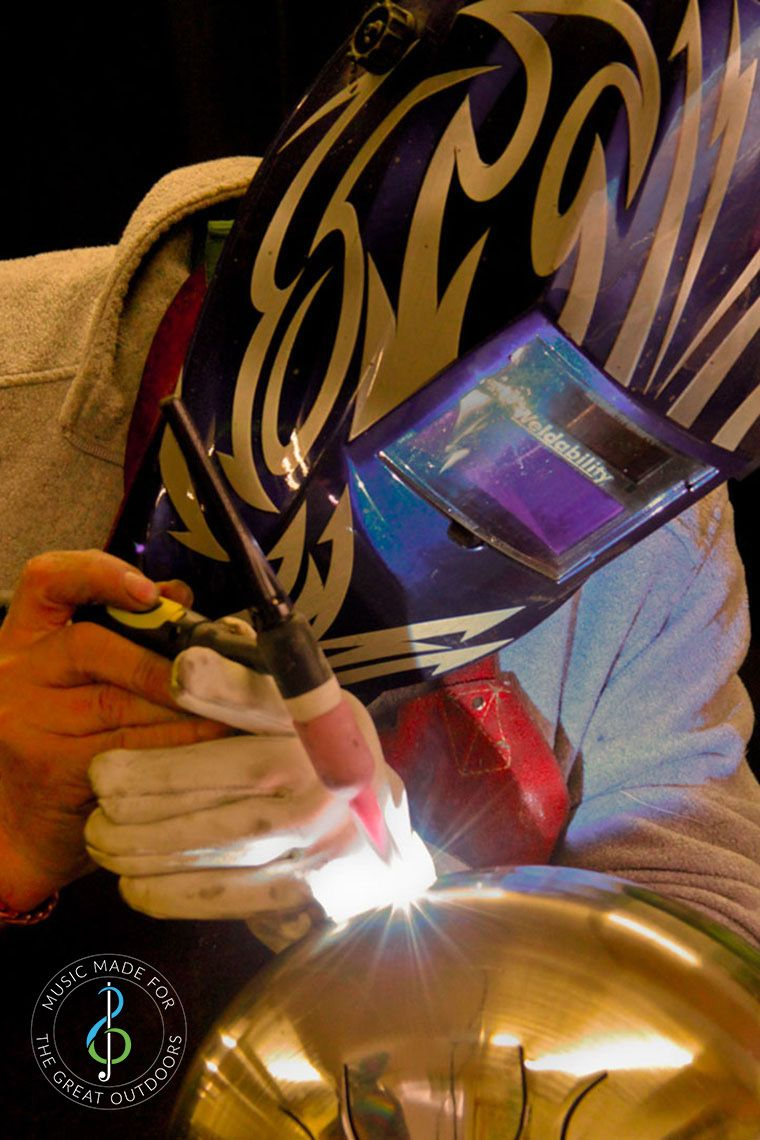 Welder with Face mask welding stainless steel tongue drum