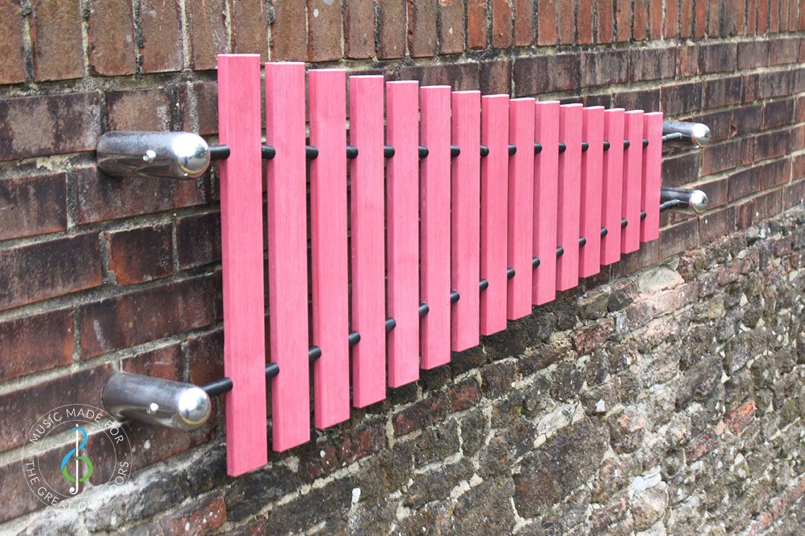 wall mounted marimba xylophone with pink notes and stainless steel fixings