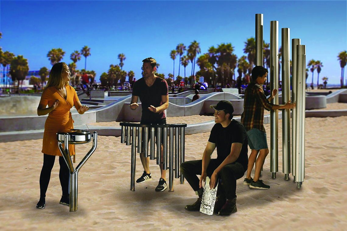 group of adults playing metal outdoor musical instruments